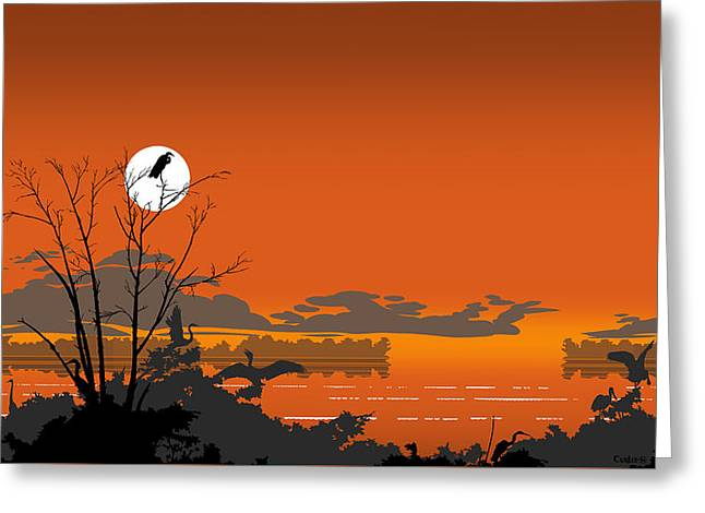1980s Greeting Cards - Abstract Florida Everglades Tropical Birds Sunset Landscape - large Pop Art Nouveau - Panorama - 4 Greeting Card by Walt Curlee