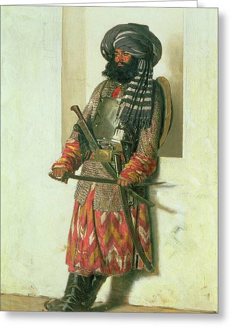 Turbans Greeting Cards - Afghan, 1870 Oil On Canvas Greeting Card by Piotr Petrovitch Weretshchagin