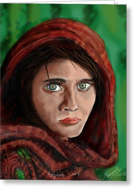 Afghan Girl Greeting Card by Sasank Gopinathan