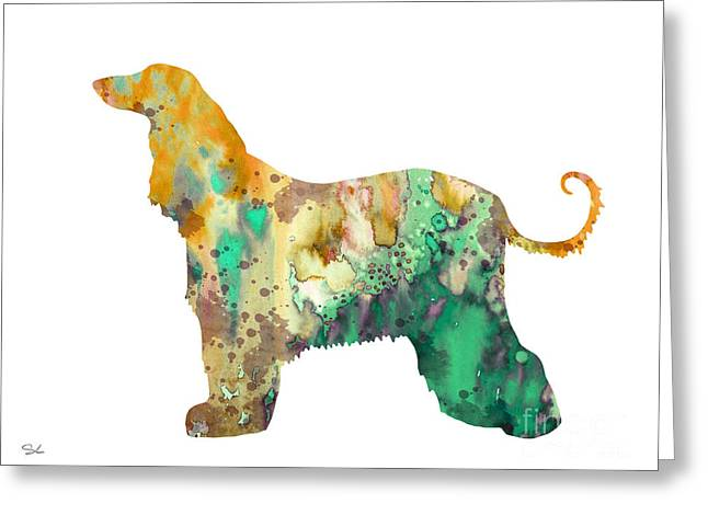 Afghan Hound Watercolor Greeting Cards - Afghan Hound 2 Greeting Card by Luke and Slavi