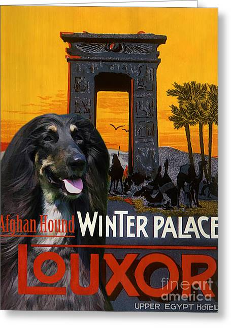 Dog Prints Greeting Cards - Afghan Hound Art - Luxor Poster Greeting Card by Sandra Sij