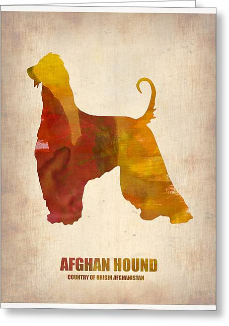Puppies Digital Art Greeting Cards - Afghan Hound Poster Greeting Card by Naxart Studio