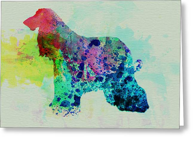 Pet Greeting Cards - Afghan Hound Watercolor Greeting Card by Naxart Studio