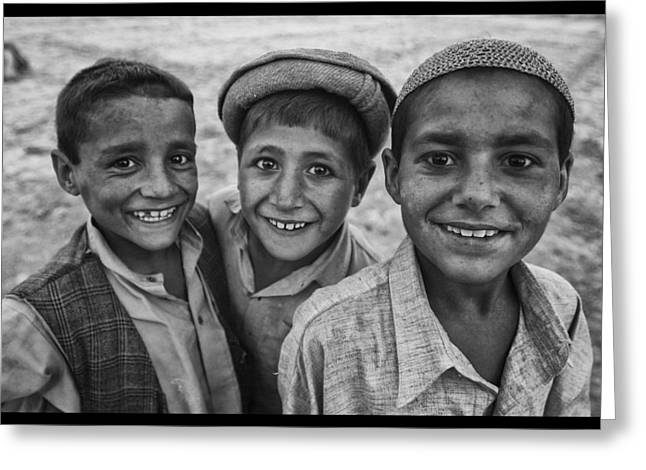 Conservative Greeting Cards - Afghan Lads Greeting Card by David Longstreath