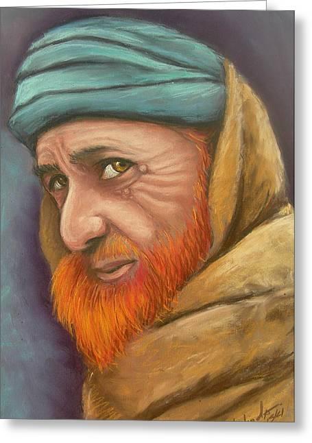 Bin Laden Greeting Cards - Afghan Man With Red Beard Greeting Card by Melinda Saminski
