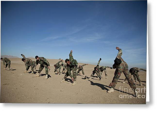 Color Bending Greeting Cards - Afghan National Army Commandos Greeting Card by Stocktrek Images