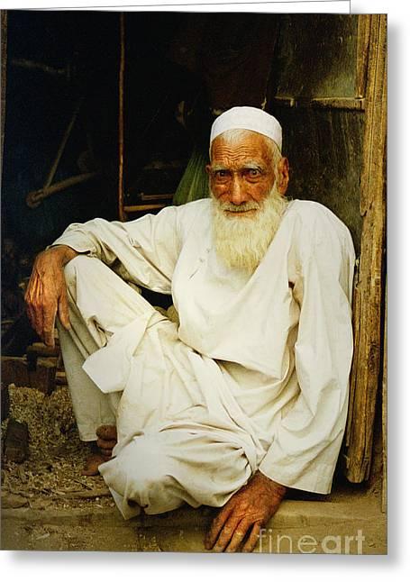 Sittting Greeting Cards - Afghan old carpenter Greeting Card by Franz Gustincich
