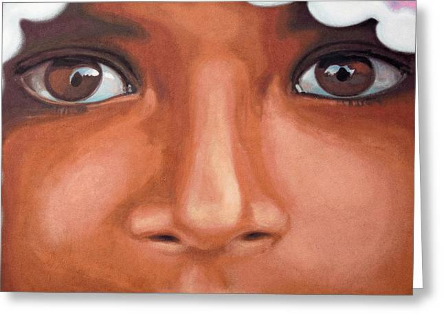 Lost In Thought Paintings Greeting Cards - Afghan Refugee Greeting Card by Mair Hunt
