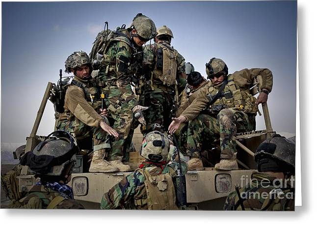 Cooperation Greeting Cards - Afghan Soldiers Give A Hand Greeting Card by Stocktrek Images