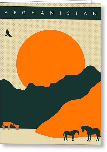 Sunset Posters Greeting Cards - Afghanistan Travel Poster Greeting Card by Jazzberry Blue