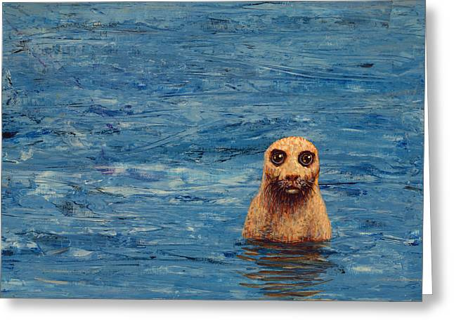 Seal Greeting Cards - Afloat Greeting Card by James W Johnson