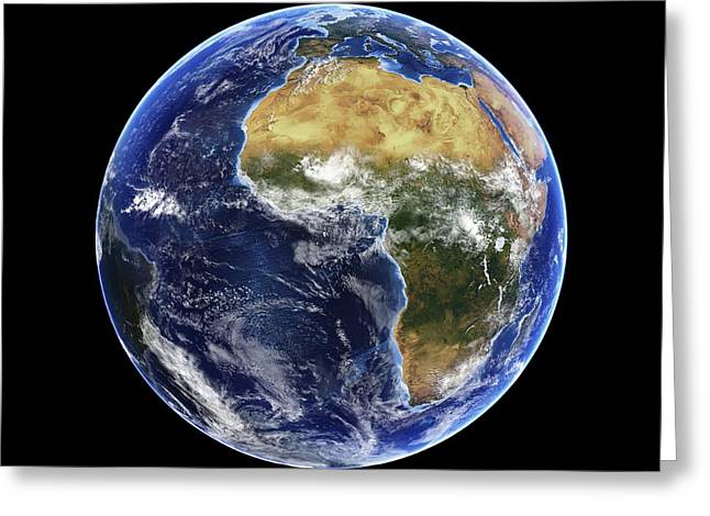 Planet Earth Greeting Cards - Africa and Atlantic Ocean, with clouds Greeting Card by Science Photo Library