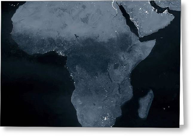Planet Earth Greeting Cards - Africa at night Greeting Card by Science Photo Library