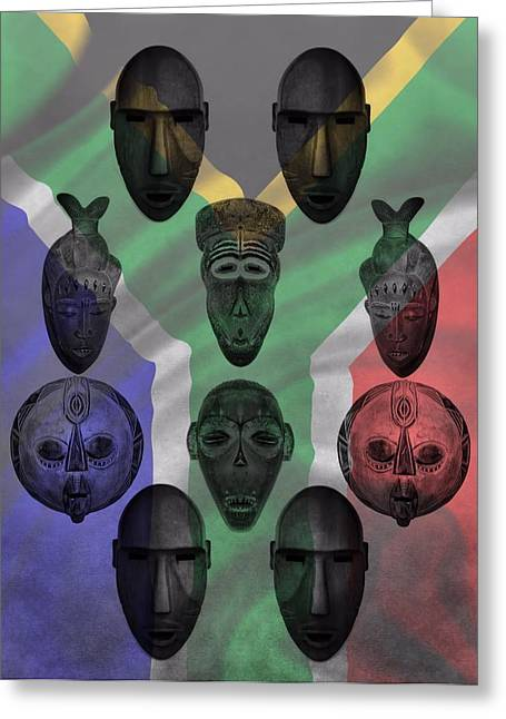 National Mixed Media Greeting Cards - Africa Flag And Tribal Masks Greeting Card by Dan Sproul