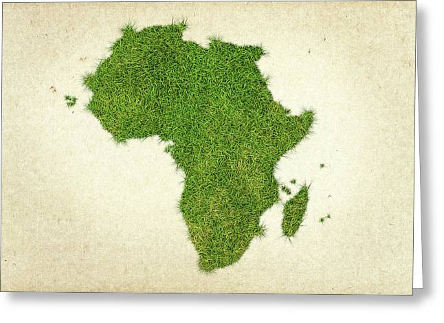 Planet Map Mixed Media Greeting Cards - Africa Grass Map Greeting Card by Aged Pixel