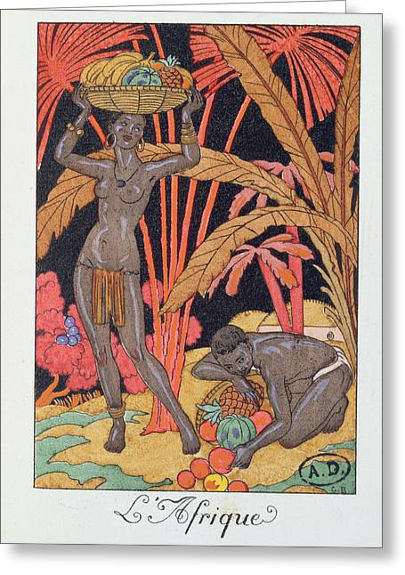 Fall Grass Greeting Cards - Africa illustration for a calendar for 1921 Greeting Card by Georges Barbier