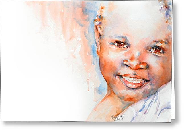 Watercolour Portrait Greeting Cards - Africa in my Soul Greeting Card by Stephie Butler