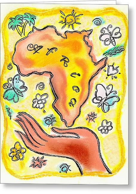 Sun Rays Paintings Greeting Cards - Africa Greeting Card by Leon Zernitsky