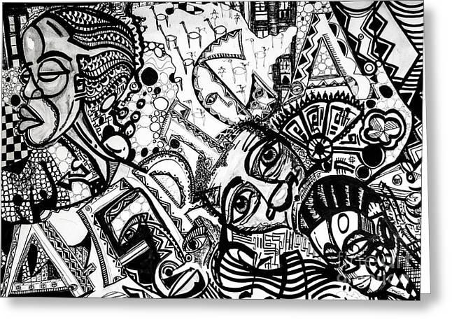 Robert Daniels Drawings Greeting Cards - Africa Greeting Card by Robert Daniels