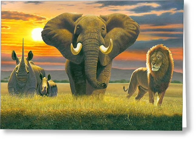 Africa Triptych Variant Greeting Card by Chris Heitt