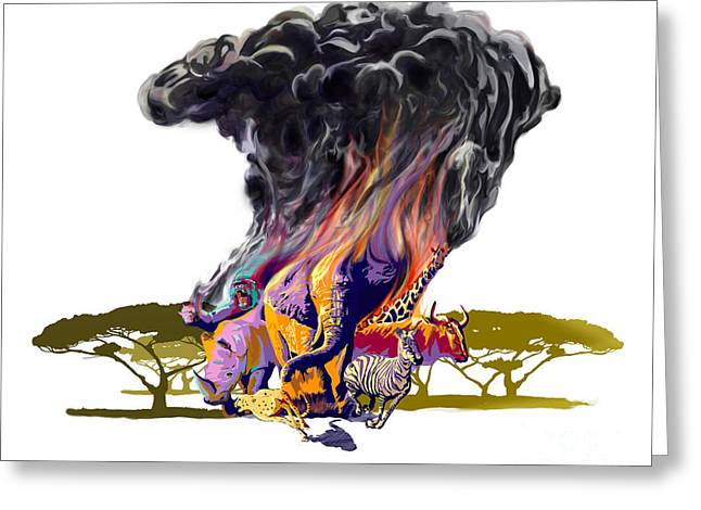 Savannahs Greeting Cards - Africa up in smoke Greeting Card by Sassan Filsoof