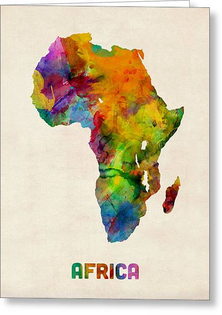Africa Map Greeting Cards - Africa Watercolor Map Greeting Card by Michael Tompsett