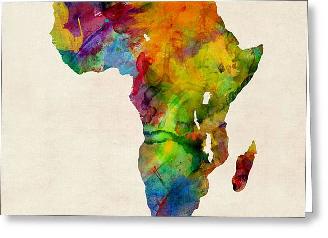 Africa Watercolor Map Greeting Card by Michael Tompsett