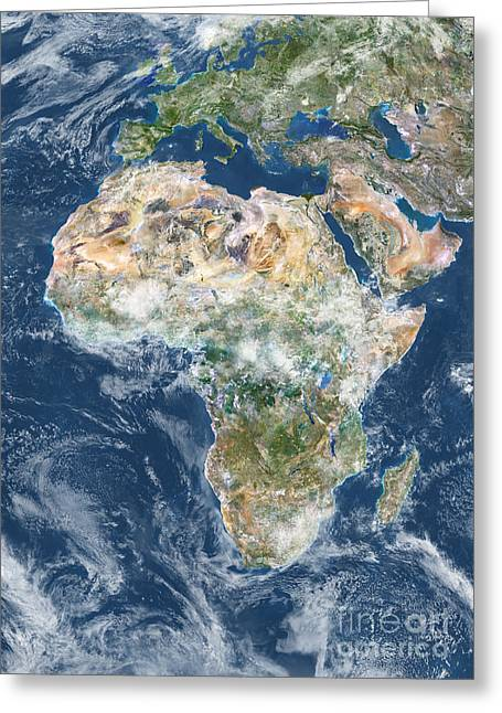 Planet Earth Greeting Cards - Africa With Cloud Coverage Greeting Card by Planet Observer