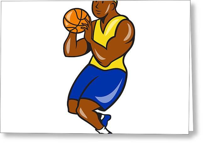 African-american Digital Art Greeting Cards - African-American Basketball Player Shoot Ball Cartoon  Greeting Card by Aloysius Patrimonio