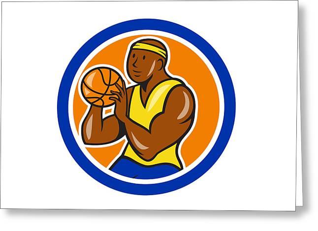 American Basketball Player Greeting Cards - African-American Basketball Player Shooting Cartoon Circle Greeting Card by Aloysius Patrimonio