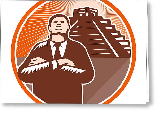 African-american Digital Art Greeting Cards - African American Businessman Protect Pyramid Greeting Card by Aloysius Patrimonio