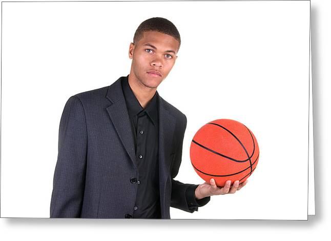 American Professional Basketball Player Greeting Cards - African American holding basketball Greeting Card by Joe Belanger