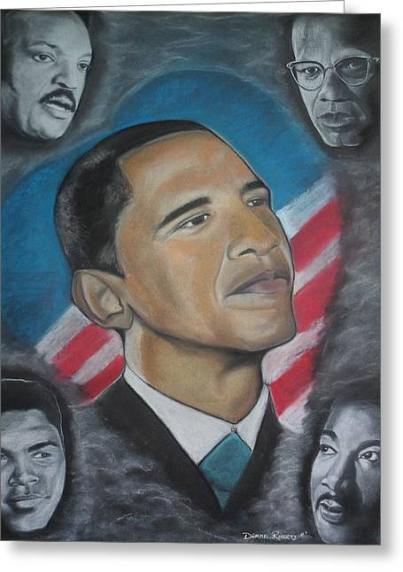 Barack Pastels Greeting Cards - African-American Love Greeting Card by Demitrius Roberts