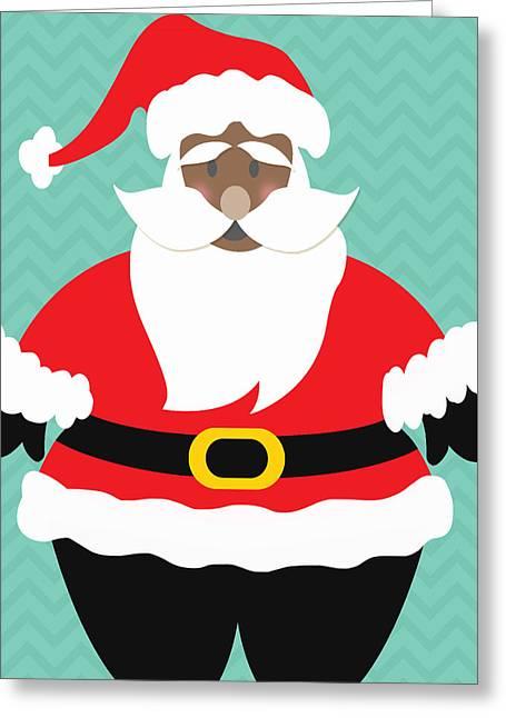 Aqua Blue Greeting Cards - African American Santa Claus Greeting Card by Linda Woods