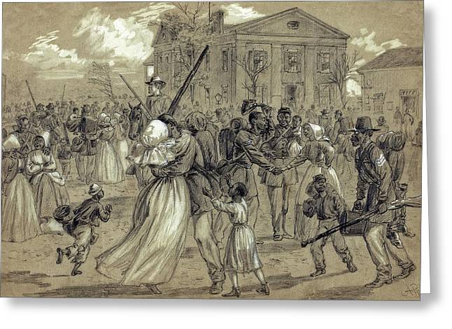 Town Square Drawings Greeting Cards - AFRICAN AMERICAN SOLDIERS return HOME from WAR - 1866 Greeting Card by Daniel Hagerman