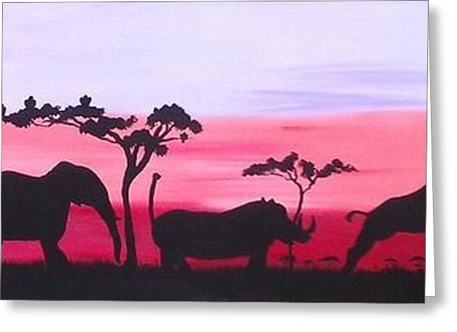 Rhinoceros Greeting Cards - African Animals Greeting Card by Anne Shaughnessy