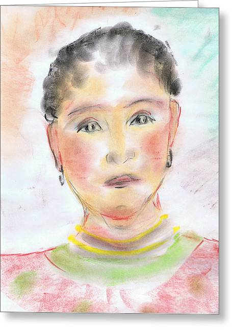 Sadness Pastels Greeting Cards - African Beauty Greeting Card by Karen J Jones