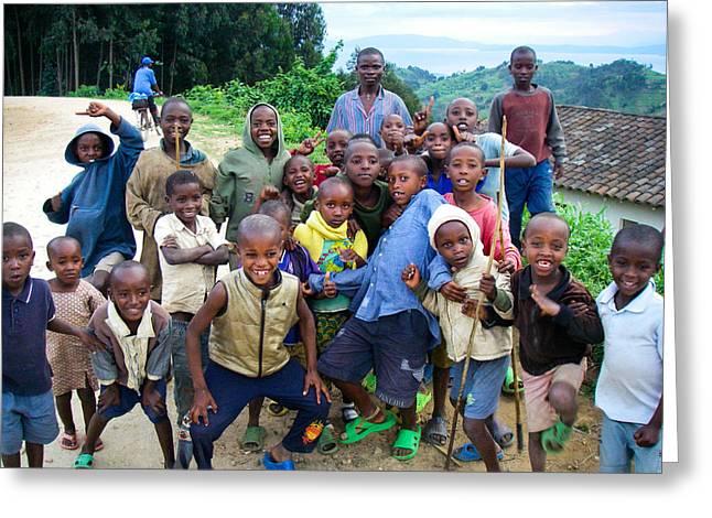 Geobob Greeting Cards - African Children Gawking for Camera Gishwati Forest near Lake Kivu Rwanda Africa Greeting Card by Robert Ford