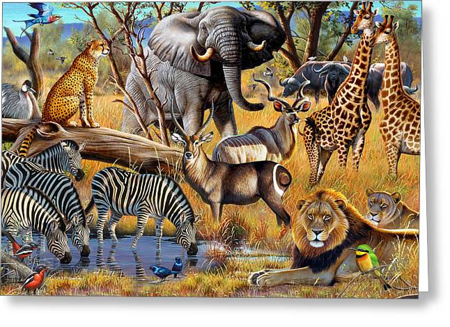 Cynthie Fisher Greeting Cards - African Collage Greeting Card by Cynthie Fisher
