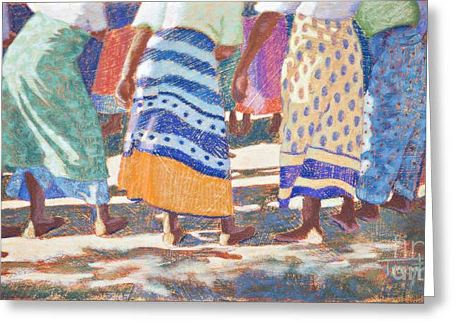 Stripes Pastels Greeting Cards - African Colors Greeting Card by Tracy L Teeter