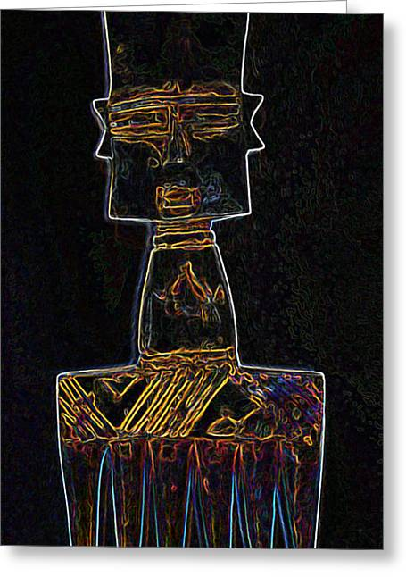 Wooden Sculpture Greeting Cards - African Comb 3 Greeting Card by Duwayne Washington