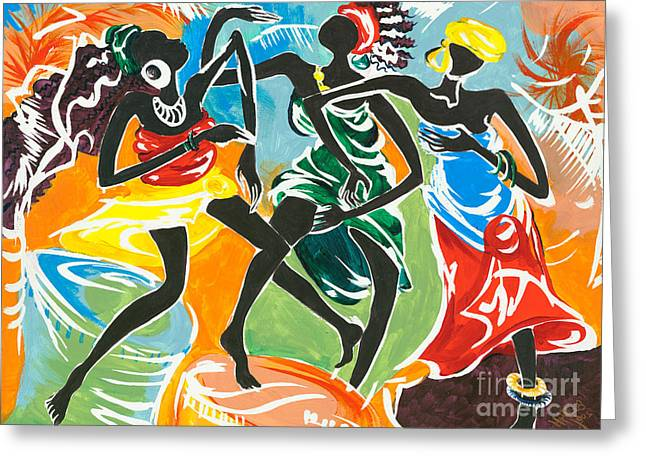 African Greeting Greeting Cards - African Dancers No. 3 Greeting Card by Elisabeta Hermann