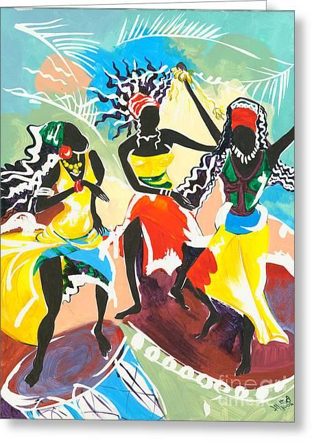 Ethnic Print Greeting Cards - African Dancers No. 4 Greeting Card by Elisabeta Hermann