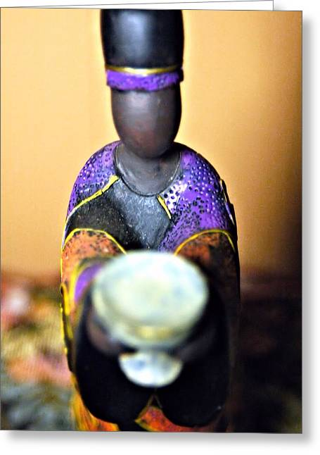 Color Colorful Ceramics Greeting Cards - Ceramic African Drummer Greeting Card by Rondahl Mitchell
