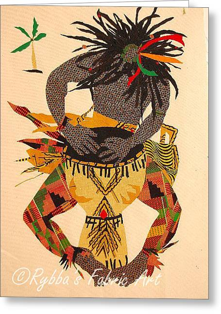 Clothing Tapestries - Textiles Greeting Cards - African Drummer Greeting Card by Ruth Yvonne Ash