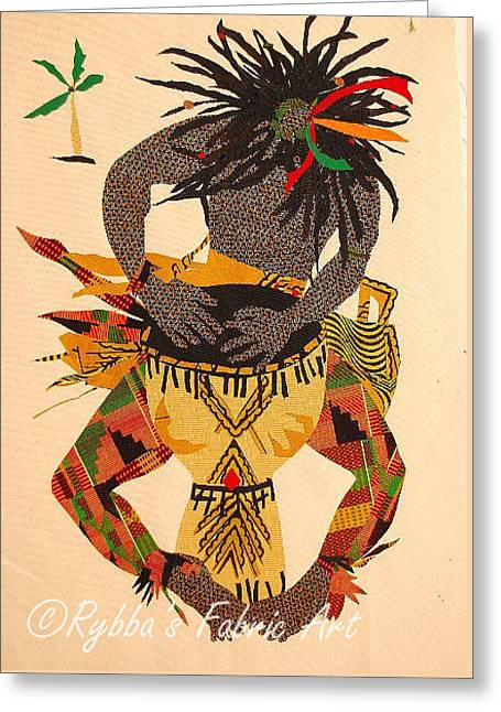 Playing Tapestries - Textiles Greeting Cards - African Drummer Greeting Card by Ruth Yvonne Ash