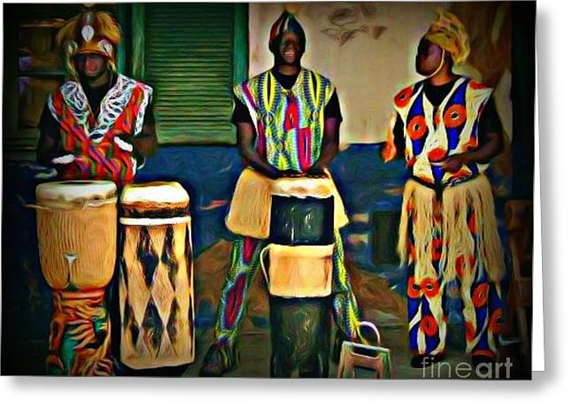 Afrocentric Art Greeting Cards - African Drummers Greeting Card by John Malone