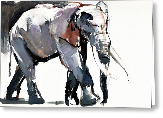 Tusk Greeting Cards - African Elephant, 2012, Mixed Media On Paper Greeting Card by Mark Adlington