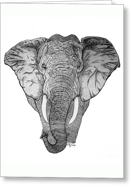 Pointillism Drawings Greeting Cards - African Elephant Greeting Card by Nick Gustafson