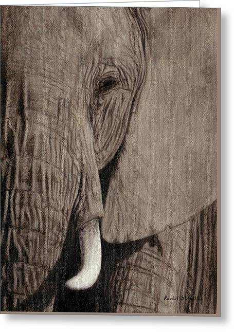 Large Mammals Greeting Cards - African Elephant Painting Greeting Card by Rachel Stribbling